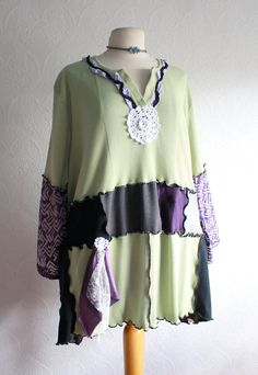 2a66456df8760 Wearable Art Green Plus Size Top 5X Bohemian Clothing Purple Tunic Upcycled  Clothes Recycled Tshirt Eco Friendly  PHOENIX