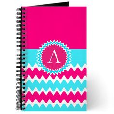 Neon Bright Pink Blue Chevron Monogram Journal on CafePress.com