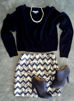 Sequin Chevron Skirt + Sweater & Booties <3
