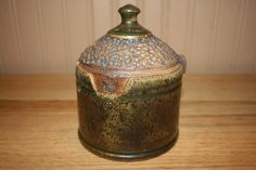 Handmade pottery covered jar intricate carving by earthyharvest