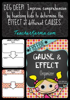 FREE:  Improve reading comprehension by teaching your students to determine the effect of different causes.  TeacherKarma.com #reading #comprehension