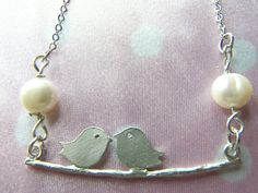Silver Love Birds Branch Necklace Sterling by WishesontheWind, $25.00