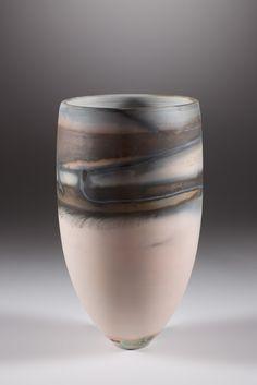 New work Nov 2014 'Charcoal Blends over Bog' Thrown & Saggar Fired 22.5 x 15 cm