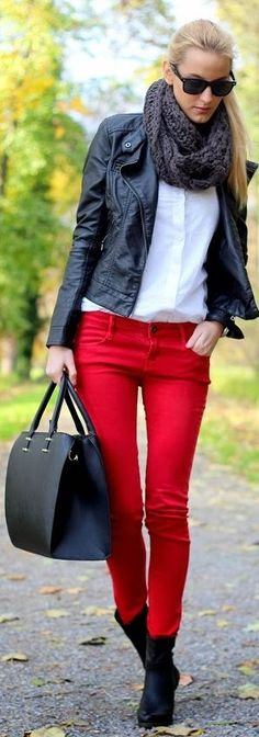 Another outfit I'd wear everyday ^_^ infinity scarf, black leather jacket, white tee, red pants, & boots