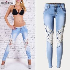 Humble 2019 Spring New Denim Trousers Womens Retro Heavy Drilled Diamond Beaded Slim Jeans Pants Female High Waist Flare Trousers Women's Clothing