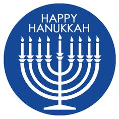 Happy Hanukkah Tags Dark Blue