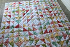 Gold Shoe Girl: Sweet Strawberry Fields Throw Quilt
