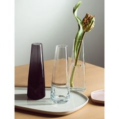 The Iittala X Issey Miyake vase has an elegant, slim shape that is ideal for emphasizing the beauty of a single flower. The vase is made of mouth-blown glass, and its height is 18 cm. Issey Miyake, Japan Design, Pentagon Shape, Grey Glass, Votive Candle Holders, Design Studio, Moma, Home Collections, Scandinavian Design