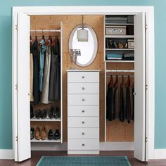 Busy days begin on the right foot with an orderly bedroom closet. Use a smart layout and standout accessories to double closet space and ease into the morning routine. Double Closet, Reach In Closet, Closet Space, Closet Mirror, Closet Bedroom, Master Closet, Closet Dresser, Closet Redo, Laundry Closet