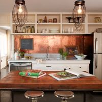 Gorgeous Copper Farmhouse Kitchen Splashback Travertine Backsplash