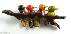 RARE Vintage 1930s 40s Martha Sleeper 4 Birds on A Branch Bakelite Brooch Pin