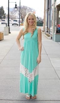 Maxi Dress With Lace Chevron Detail $42.99!  Also available in peach!