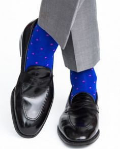 Dapper Classics Clematis Blue with Rose Dot Cotton Linked Toe Sock