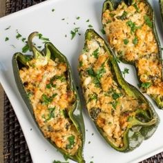 A recipe for gorgeous poblano peppers stuffed with Cajun seasoned shrimp, Manchego and goat cheese, and basil, then baked or grilled. Milk Recipes, Mexican Food Recipes, Cooking Recipes, Cajun Cooking, Best Stuffed Pepper Recipe, American Appetizers, Cajun Shrimp, Pepper Shrimp, Stuffed Poblano Peppers