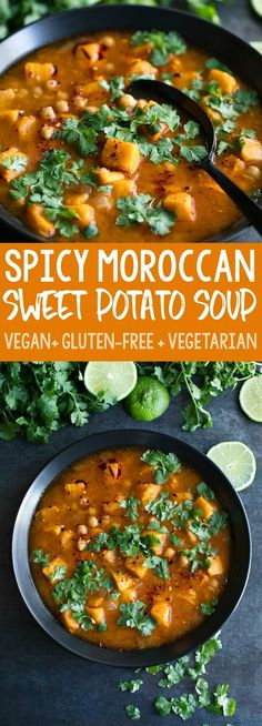 Spicy Moroccan Sweet Potato Soup features both Instant Pot and Stove-Top instructions. This hearty vegan sweet potato soup is loaded with tasty chickpeas and veggies in a flavorful harissa spiked broth! More from my site Moroccan Chickpea Soup Easy Soup Recipes, Vegetarian Recipes, Healthy Recipes, Vegan Vegetarian, Dinner Recipes, Hearty Vegetarian Soup, Vegetarian Sweets, Cooking Recipes, Veggie Soup Recipes