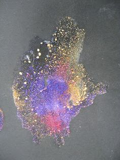 Mix salt with warm water. Dip chalk in and draw on black paper!