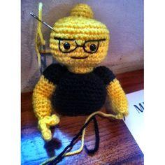 lego mini figure - made me smile! Crochet Gifts, Crochet Dolls, Crochet Things, Tweety, Teddy Bear, Sewing, Knitting, Toys, Animals