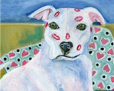 """Pitbull with kisses, 5"""" x 5"""" blank card"""