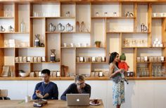 Custom shelving inspiration from a coffee shop