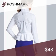 Zella workout jacket Cute white lightweight jacket with peplum at waist.  Looks like Lululemon and is in great condition Zella Jackets & Coats