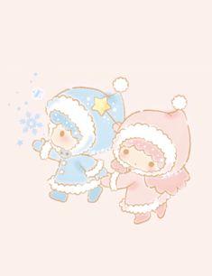 Little Twin Stars, Little My, Winter Wallpaper, Sanrio Characters, Hello Kitty, Twins, Nintendo, Pastel, Teddy Bear