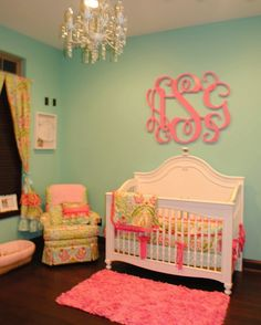 I love the ice blue and pink for a baby girl's room.