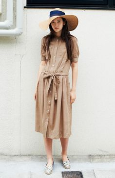 Camel shirt dress with tie waist