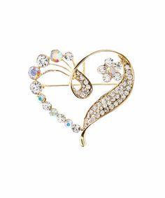 Love this Czech Crystal & Goldtone Heart Brooch on #zulily! #zulilyfinds