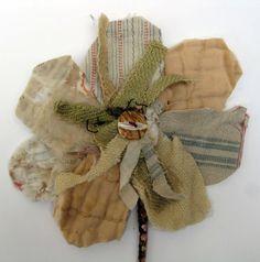 Fabric Flower Brooch/ Fabric Flower Wall Piece by MandyPattullo