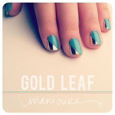 10 Radiant Gold Leaf Makeovers.  Gold Leaf Manicure    Another subtle way to accessorize using gold leaf is through your nails! Give yourself an easy gold leaf manicure in a few simple steps and see how many people compliment you on your style!  Learn more at The Beauty Department.