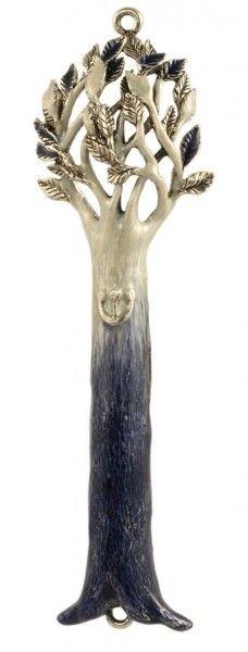 Tree Blue/White Mezuzah - Mamilla Jewish Art