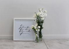 Handwritten Typography Print.  Brush-lettering, done using ink & brush.  Bon Iver, 'Skinny Love' lyrics.  www.kimleece.com