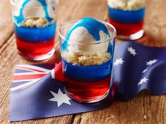 Try this Australia Day Flag Trifles recipe. oh my life this looks yummy. loving that blue syrup poured over the top of the ice cream. perfect Australia Day dessert this 2016 Trifle Desserts, Great Desserts, Dessert Recipes, Dessert Trifles, Pastry Recipes, Cookie Recipes, Aussie Food, Australian Food, Australian Recipes
