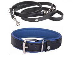 Halsband und Hundeleine Schwarz  Handgefertigt aus hochwertigen Materialien, Halsband und Hundeleine Schwarz. Das klassische Design wird beim Halsband peppig mit einer Kalbsleder Polsterung im Farbton Sapphire unterlegt.