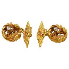 Victorian Diamond & Gold Dragon Cufflinks