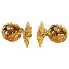 Victorian Diamond Gold Dragon Cufflinks | From a unique collection of vintage cufflinks at https://www.1stdibs.com/jewelry/cufflinks/cufflinks/