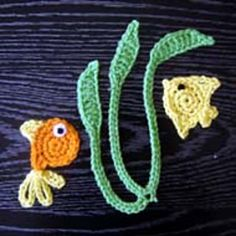 Ravelry: Goldfish, Anglefish and Seaweed Crochet Applique Patterns pattern by JTcreations