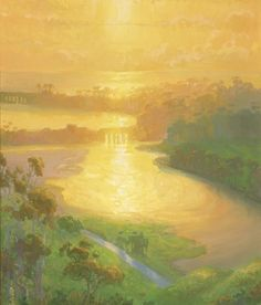 """American Legacy Fine Arts presents """"Sunset Wash; Batiquitos Lagoon"""" a painting by Peter Adams."""