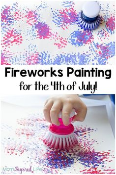 You kids will absolutely love this painting fireworks craft! It is perfect for the 4th of July, but would also be fun for New Year's Eve. Set it up at your 4th of July BBQ this summer and keep the kids busy!