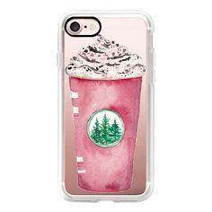 Starbucks Red Cup Peppermint Mocha Holiday Christmas Watercolor Latte... ($40) ❤ liked on Polyvore featuring accessories, tech accessories, iphone case, apple iphone cases, iphone cover case, iphone cases and red iphone case