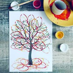 Craft Spring Preschool Art Projects 21 New Ideas Autumn Crafts, Fall Crafts For Kids, Diy For Kids, Kids Crafts, Autumn Art Ideas For Kids, Autumn Painting, Painting For Kids, Fall Paintings, Preschool Crafts