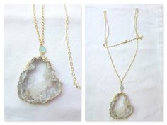Long Druzy Necklace  Mint Bezel with Pale Gray by HalleGirlDesign