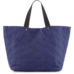 Neiman Marcus Star-Quilted Tote Bag ($32) ❤ liked on Polyvore featuring bags, handbags, tote bags, navy, navy tote, navy tote bag, zippered tote bag, navy blue tote bag and navy blue handbags