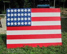 This flag was made from a piece of flooring found in the trash!!