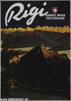 Vintage Travel Poster - Rigi - Switzerland - by Carl Moos. Swiss Travel, European Travel, Travel Ads, Travel And Tourism, Fürstentum Liechtenstein, Poster City, Value In Art, Tourism Poster, Railway Posters