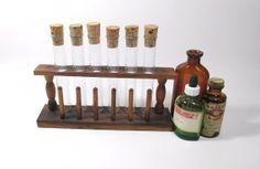 Vintage Glass Test Tube Set with Wooden by UrbanRenewalDesigns, $35.00