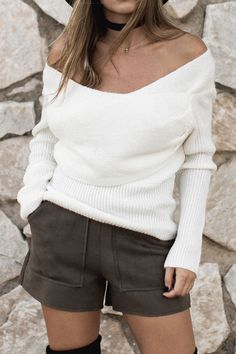 c285b183732d9 Cupshe Straight To You Cross Ribbed Sweater Spring Fashion 2017