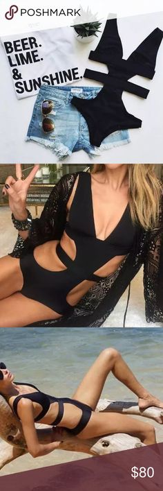 "Bandage One Piece Bikini Bandage/strapped one piece bikini !  Padded !  Material: polyester  Sizes:       Bust          Waist            Length S-  30""            25""                28"" M- 31.5""         27""                 29"" L-  33""            28""                 30""             FIRM ON PRICE          NO TRADES    NOT FROM LISTED BRAND Victoria's Secret Swim One Pieces"