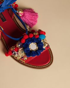 Dolce & gabbana Pom-Pom Leather Lace-Up Sandals in Red   Lyst