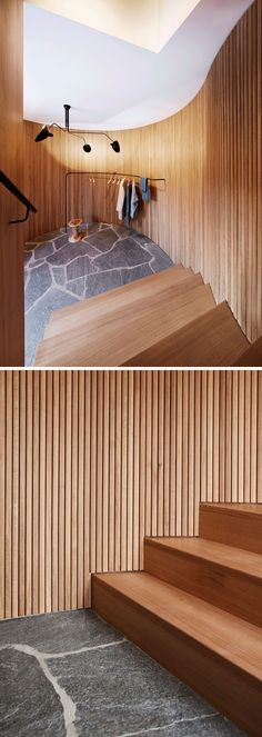 Flagship House - These stairs are surrounded by wooden slats that curve around and create a softer look for the space. At the bottom of the stairs, a simple rail provides a place to hang outerwear. Timber Slats, Wooden Slats, Built In Bath, Wood Bookshelves, Basement Inspiration, Built In Furniture, Wood Stairs, Fireplace Surrounds, Mid Century House